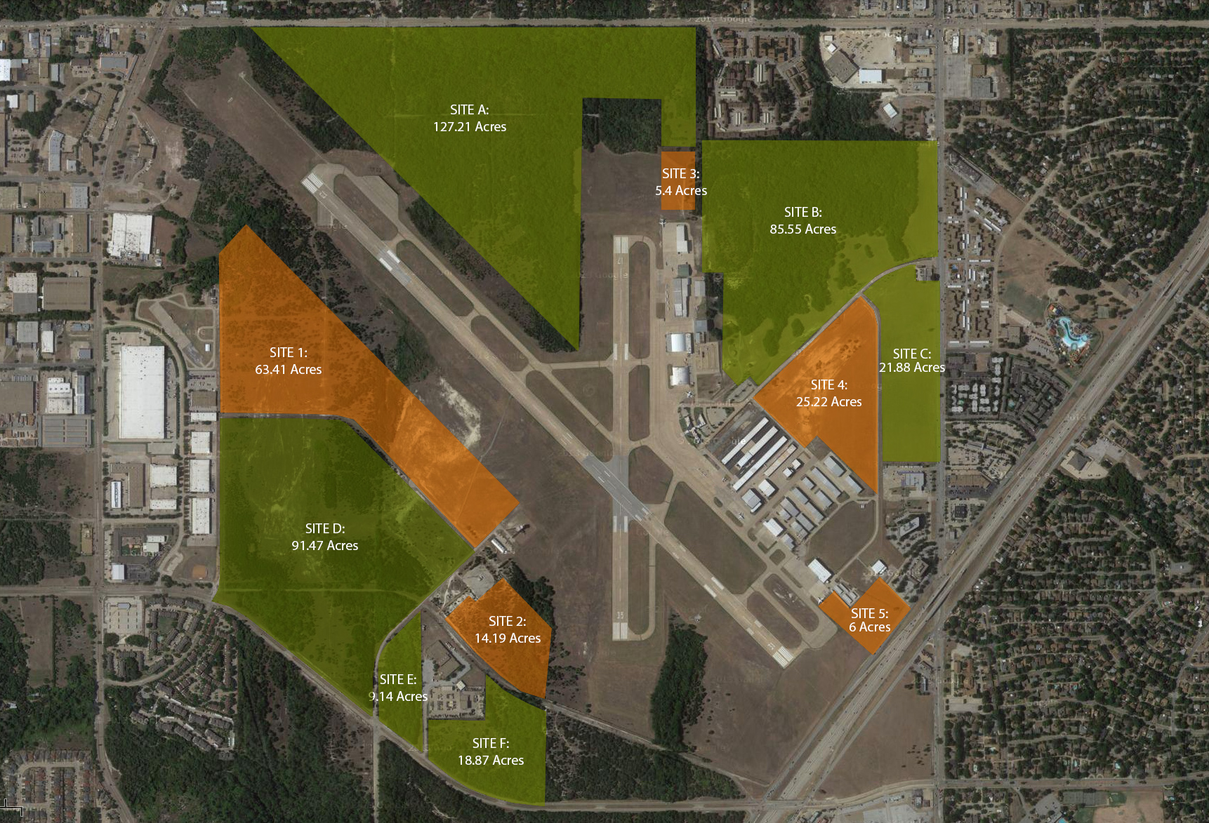 Map Usa States Airports%0A     Airport Development Opportunities   Dallas Executive Airport on map of      acres