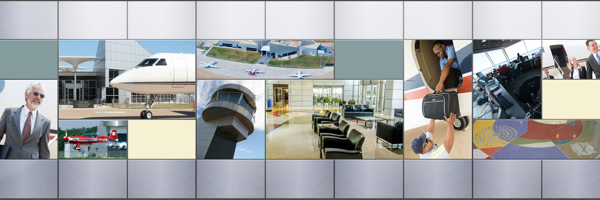 Dallas Executive Airport, terminal, control tower, airplanes, baggage